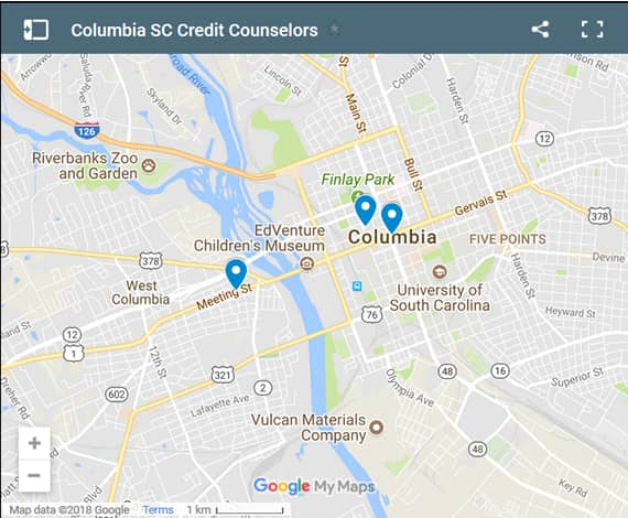 Columbia Credit Counsellors Map - Initial Static Image