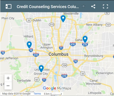 Columbus Credit Counsellors Map - Initial Static Image