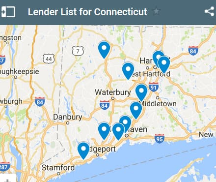 Connecticut Bad Credit Lenders Map - Initial Static Image