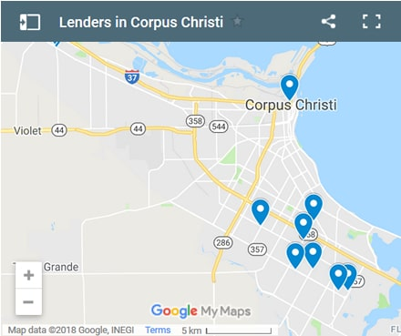Corpus Christi Bad Credit Lenders Map - Initial Static Image