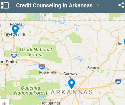 Arkansas Credit Counselors Map - Initial Static Image