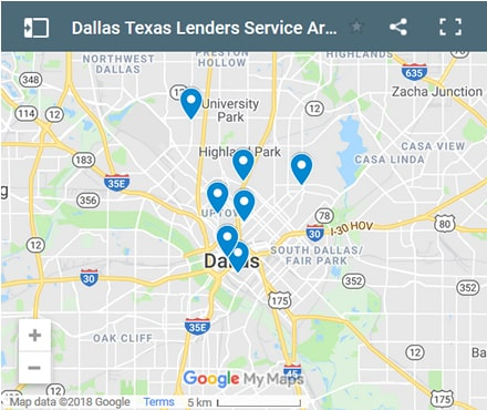 Dallas Bad Credit Lenders Map - Initial Static Image