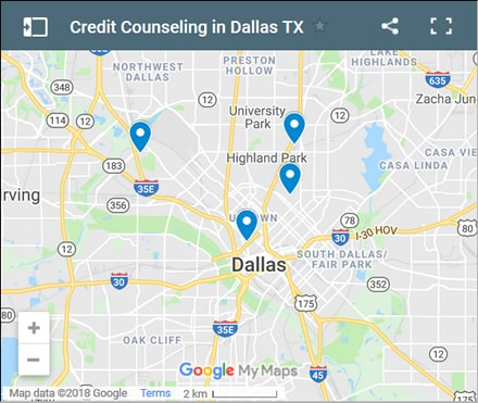 Dallas Credit Counsellors Map - Initial Static Image