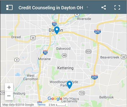 Dayton Credit Counsellors Map - Initial Static Image