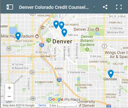 Denver Credit Counsellors Map - Initial Static Image