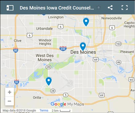 Des Moines Credit Counsellors Map - Initial Static Image