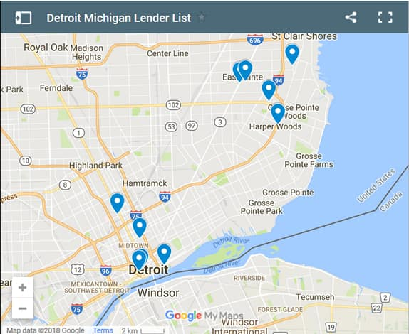 Detroit Bad Credit Lenders Map - Initial Static Image