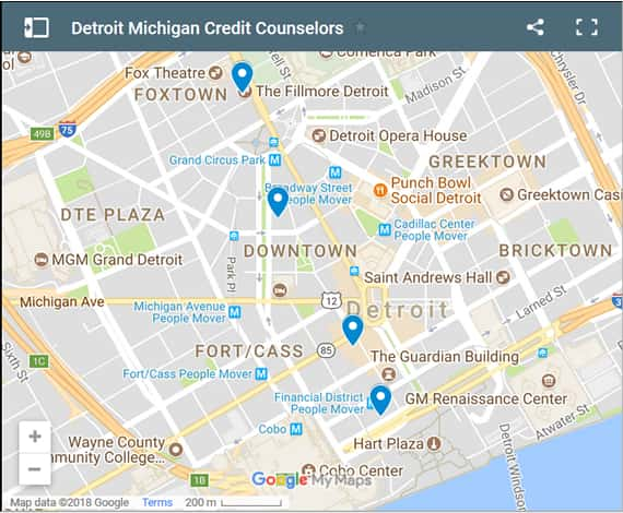 Detroit Credit Counsellors Map - Initial Static Image