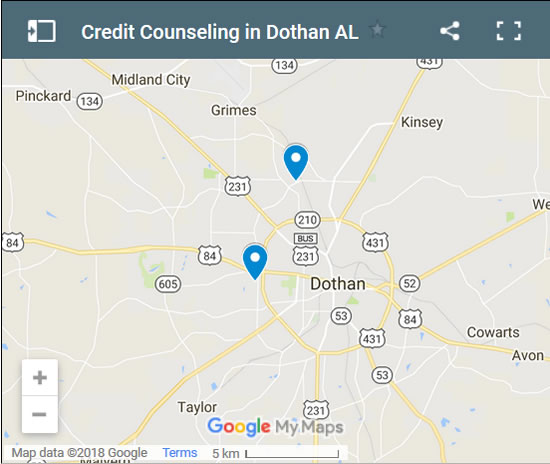 Dothan Credit Counsellors Map - Initial Static Image