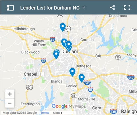 Durham Bad Credit Lenders Map - Initial Static Image