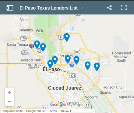 El Paso Bad Credit Lenders Map - Initial Static Image