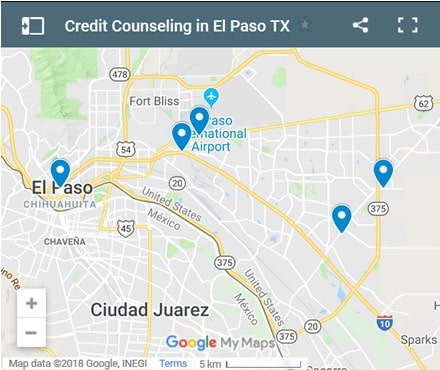 El Paso Credit Counsellors Map - Initial Static Image