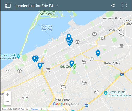 Erie Bad Credit Lenders Map - Initial Static Image
