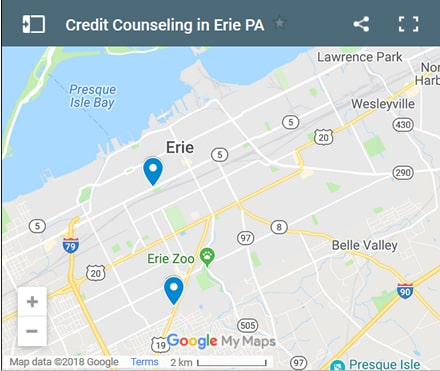 Erie Credit Counsellors Map - Initial Static Image