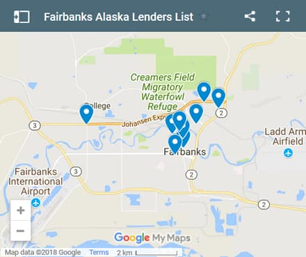 Fairbanks Bad Credit Lenders Map - Initial Static Image
