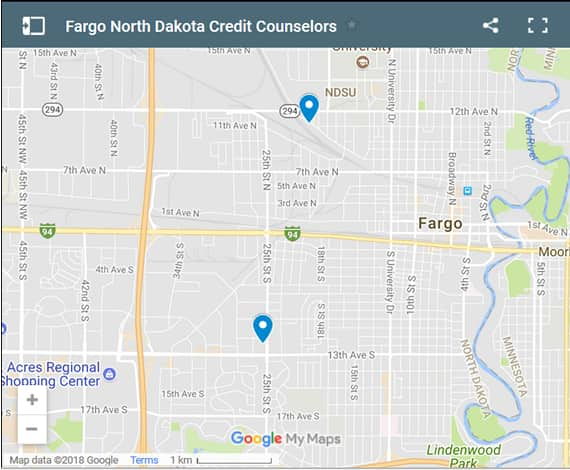 Fargo Credit Counsellors Map - Initial Static Image