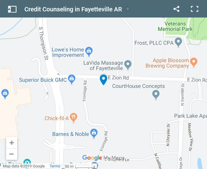 Fayetteville Credit Counsellors Map - Initial Static Image