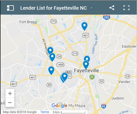 Fayetteville Bad Credit Lenders Map - Initial Static Image