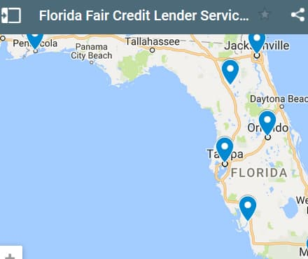 Florida Bad Credit Lenders Map - Initial Static Image