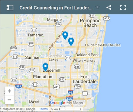 Ft Lauderdale Credit Counsellors Map - Initial Static Image