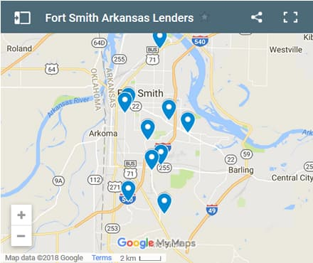 Fort Smith Bad Credit Lenders Map - Initial Static Image