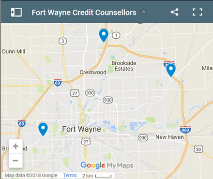 Fort Wayne Credit Counsellors Map - Initial Static Image