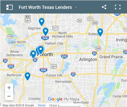 fort-worth Bad Credit Lenders Map - Initial Static Image