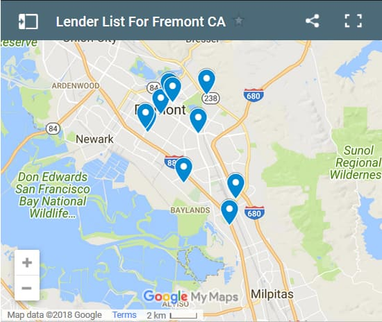 Fremont Bad Credit Lenders Map - Initial Static Image
