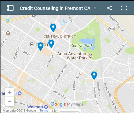Fremont Credit Counsellors Map - Initial Static Image