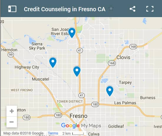 Fresno Credit Counsellors Map - Initial Static Image