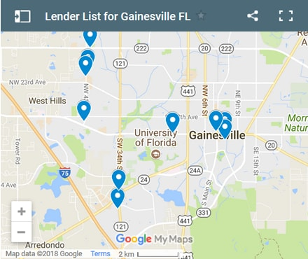 Gainesville Bad Credit Lenders Map - Initial Static Image