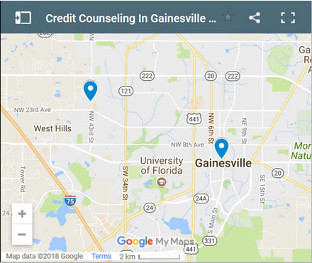 Gainesville Credit Counsellors Map - Initial Static Image