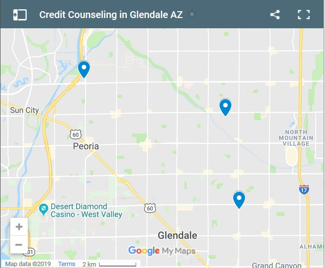 Glendale Credit Counselors Map - Initial Pre-Load Static Image