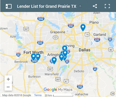 Grand Prairie Bad Credit Lenders Map - Initial Static Image
