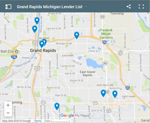 Grand Rapids Bad Credit Lenders Map - Initial Static Image