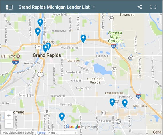 Grand Rapids Credit Counsellors Map - Initial Static Image