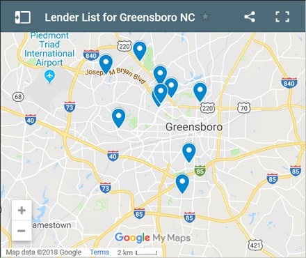 Greensboro Bad Credit Lenders Map - Initial Static Image
