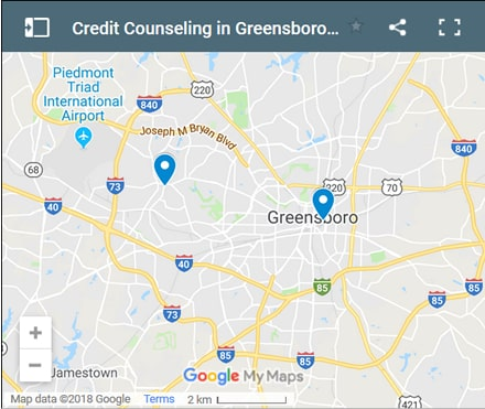 Greensboro Credit Counsellors Map - Initial Static Image