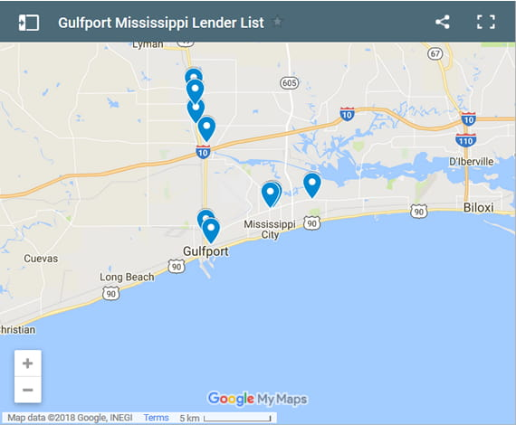Gulfport Bad Credit Lenders Map - Initial Static Image