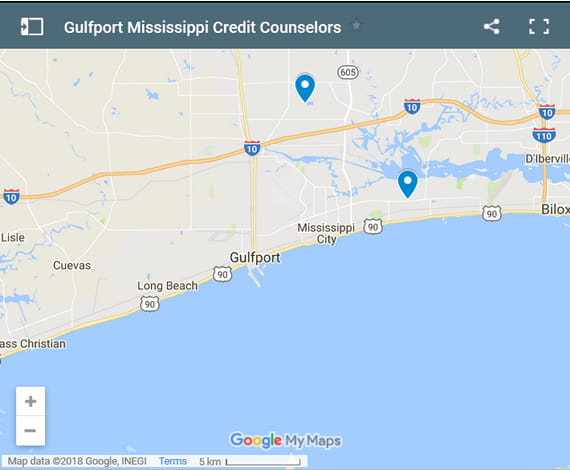 Gulfport Credit Counsellors Map - Initial Static Image
