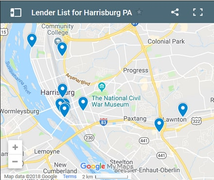 Harrisburg Bad Credit Lenders Map - Initial Static Image