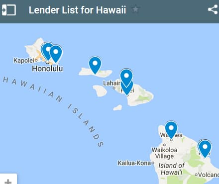 Hawaii Bad Credit Lenders Map - Initial Static Image