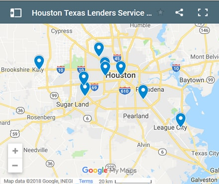 Houston Bad Credit Lenders Map - Initial Static Image