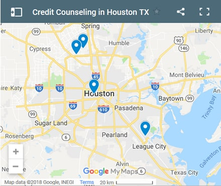 Houston Credit Counsellors Map - Initial Static Image