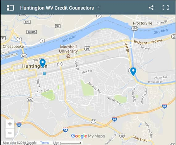 Huntington Credit Counsellors Map - Initial Static Image