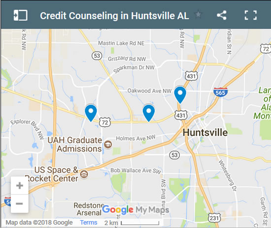 Huntsville Credit Counsellors Map - Initial Static Image
