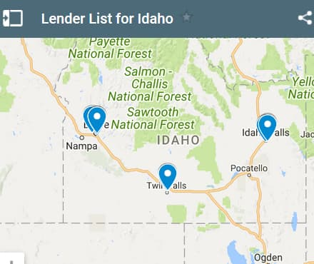 Idaho Bad Credit Lenders Map - Initial Static Image