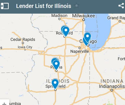 Illinois Bad Credit Lenders Map - Initial Static Image
