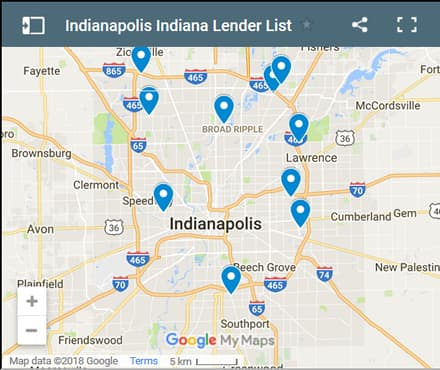 Indianapolis Bad Credit Lenders Map - Initial Static Image