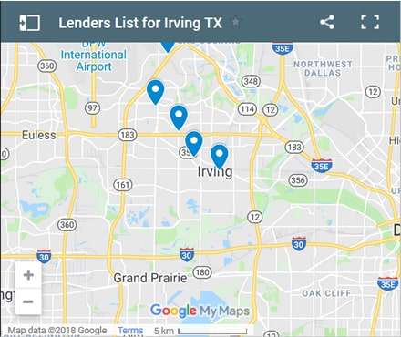 Irving Bad Credit Lenders Map - Initial Static Image